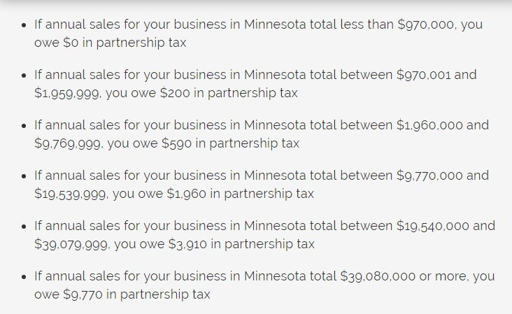 LLC income brackets for the Partnership Tax